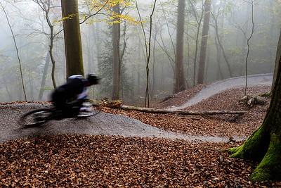 Thorsten speeds down the new perfectly groomed trail, Zürich, Switzerland