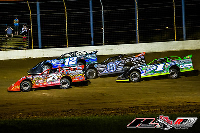 Rod Conley (71R), Jason Jameson (12), Scott Bloomquist (0) and Josh Richards (1)