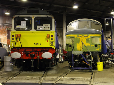 58016 & 45060 sit inside Barrow Hill Roundhouse