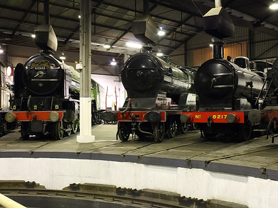 Steam locos of varying types at Barrow Hill Roundhouse