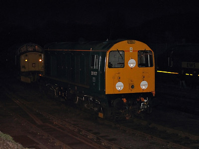 20107 tries to hide in the gloom at Barrow Hill Roundhouse