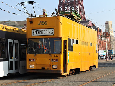 754 makes an unexpected appearance on the tramway at North Pier on the 25th August 2013