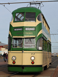 717 rolls down the promenade, running empty to take up it's role in a traditional tram farewell tour (with 600), past the Sandcastle on the 5th November 2011