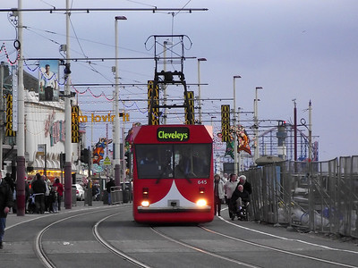 Blackpool Centenary tram, no. 645, eases it's way along the promenade on the 6th November 2010