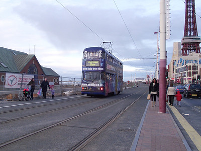 Balloon, no. 709, heads towards Blackpool Tower on the 6th November 2010