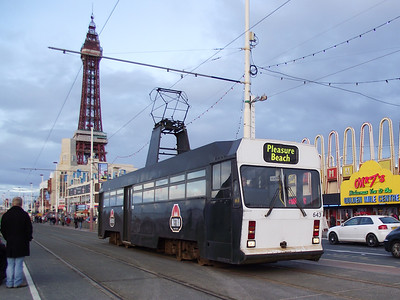 Blackpool Tower forms the backdrop as Centenary tram, no. 644, passes on the 6th November 2010