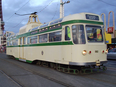 Coronation tram, no. 660, heads south along Blackpool's promenade, near Tower, on the 6th November 2010