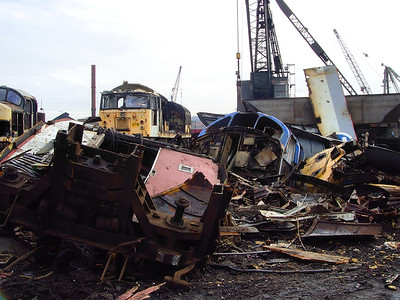 The remains of 37293 sit in CF Booth on the 14th February 2009