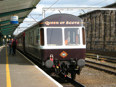 The Queen of Scots observation car brings up the rear of the QoS rake at Carlisle on the 11th July 2009