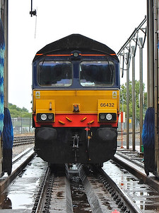66432 waits for the next carriage washer demonstration at Kingmoor on the 17th August 2013