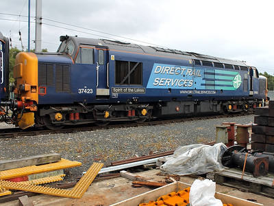 37423 waits for time, with the stock for the special to Newcastle, at Kingmoor on the 17th August 2013