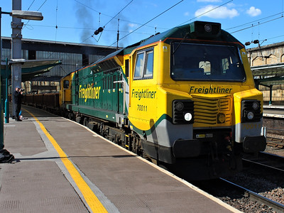 70011 powers away from a signal check at Carlisle with 6K27 on the 17th May 2013
