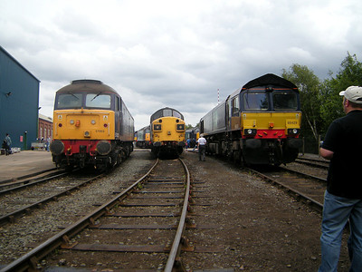 57003, 37087 and 66429 receive the attentions of open day goers at Gresty Bridge on the 10th July 2010