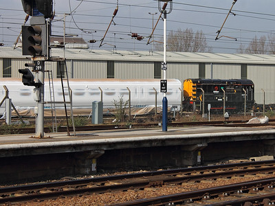 08724 shunts an EMU car around Doncaster Works on the 14th March 2014