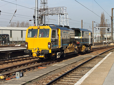 DR 77801 (which seemed to be going on a world tour of Doncaster railway lines!) arrives in the stabling road at Doncaster on the 14th March 2014