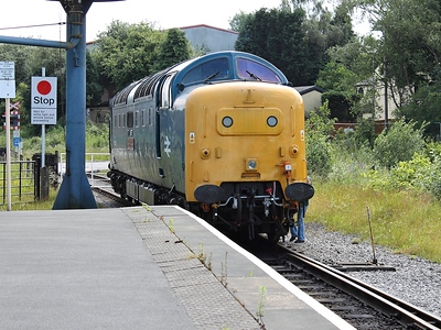 55002 runs round it's train at Heywood on the 7th July 2012