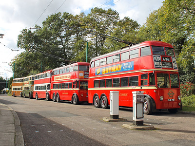 London Transport trolleybuses 796 & 260, Belfast 246, Derby 237 and Maidstone 52 await their turns on the trolleybus circuit