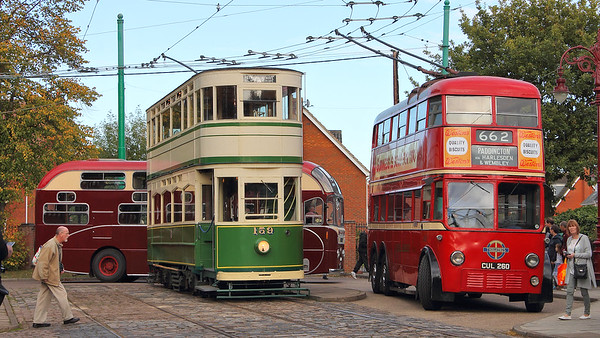 Blackpool 159 and London Transport 260, with Homeland Tours' Leyland Royal Tiger sitting in the background!