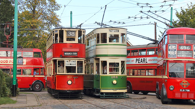A very busy scene at the terminus, with London Transport trolleys 796, 1201 & 260 surrounding London Transport tram 1858 and Blackpool Corporation 159!