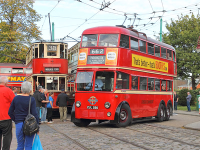 Another busy scene, with London Transport 260 leaving the terminus, as London Transport tram 1858, Blackpool 159 and London Transport trolley 796 wait