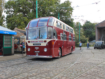 Homeland Tours' Leyland Royal Tiger adds some more 1950s interest to the museum, as it passes by with a full load of happy passengers