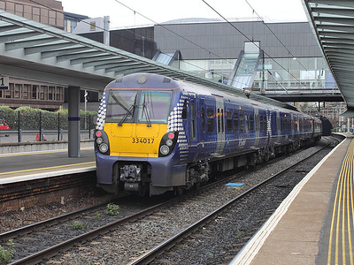 334017 stands in platform 1 at Haymarket on the 15th October 2015
