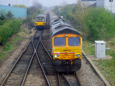 66725 drags it's train of empty coal hoppers past England Lane (Knottingley) on the 14th April 2009