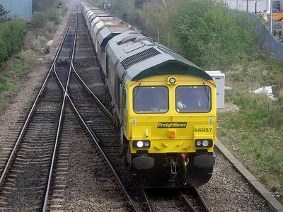 66957 rumbles past England Lane (Knottingley) on the 14th April 2009