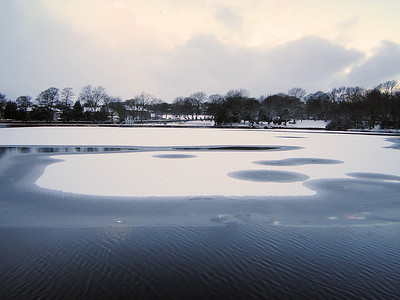 The part frozen lake at Harold Park on the 20th December 2009