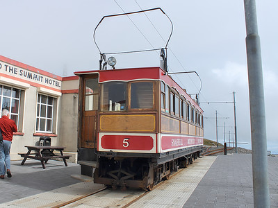 Snaefell tramcar number 5 at Snaefell Summit on the 6th August
