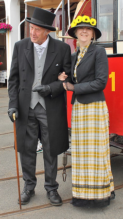 Dressed in Victorian clothing for the Douglas Bay Horse Tramway's 140th Anniversary tram cavalcade on the 7th August