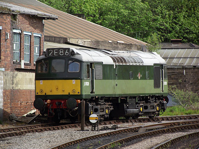 D7629 waits for it's next working at Keighley on the 21st May 2011
