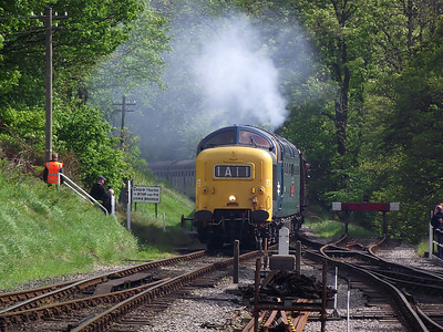 55019 arrives at Oxenhope on the 21st May 2011