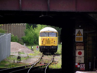56311 sits in the headshunt at Keighley on the 21st May 2011