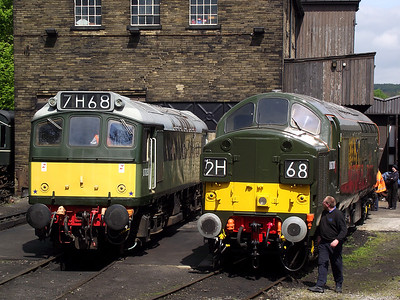 D7629 and D6700 stand in Haworth depot on the 21st May 2011