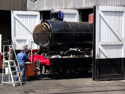A steam loco receives attention at Haworth depot on the 21st May 2011