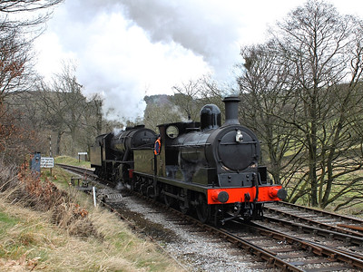 1300 & 90733 rumble into Oxenhope, to couple up to their next working, on the 3rd March 2013