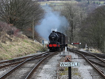 43924 arrives at Oxenhope on the 3rd March 2013