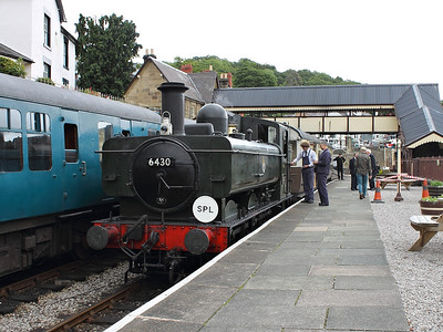 Pannier Tank, 6430, awaits departure time at Llangollen on the 22nd June 2013