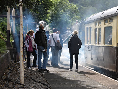 People at Llangollen gather round to look at 6430 on the 22nd June 2013