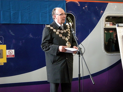 A local dignitary at the naming ceremony of 156466 at Manchester Victoria on the 3rd October 2009