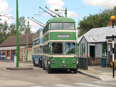 Nottingham Corporation 493 and Bradford 746 tout for custom on the 30th July