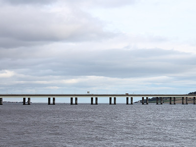 The Tay Road Bridge in close up, seen from near the Discovery on Dundee waterfront on the 9th October 2011