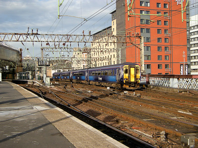 156433 is lead into Glasgow Central by another ScotRail liveried unit on the 12th October 2009