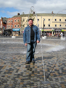 Rob stands in the water feature in Wakefield on the 11th September 2010