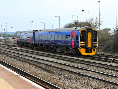 158954 rolls out of the sidings at Westbury on the 16th March 2012