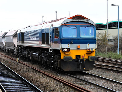 59103 waits as drivers change over at Westbury on the 16th March 2012