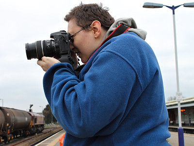Rob's best mate, Joe, doing what he does best (photographing wagon data panels, apparently!) at Westbury on the 16th March 2012