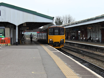 150126 waits at Westbury, with a working for Exeter St. Davids, on the 16th March 2012