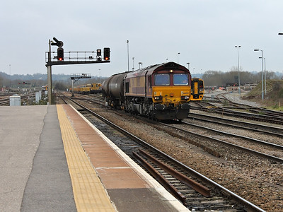 66055 reverses a train of bogie tanks into the sidings at Westbury on the 16th March 2012
